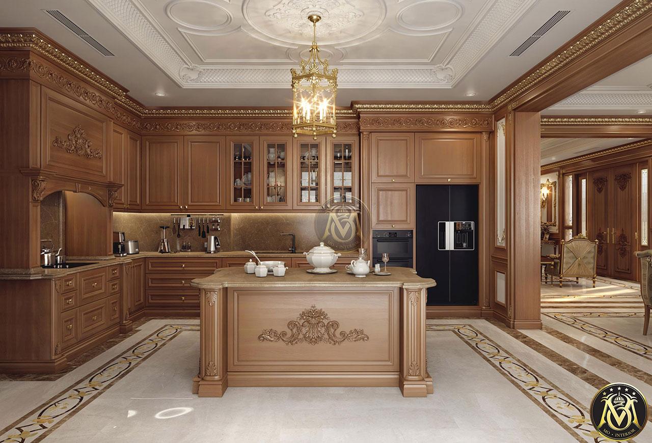 tủ bếp tân cổ điển màu gỗ tự nhiên