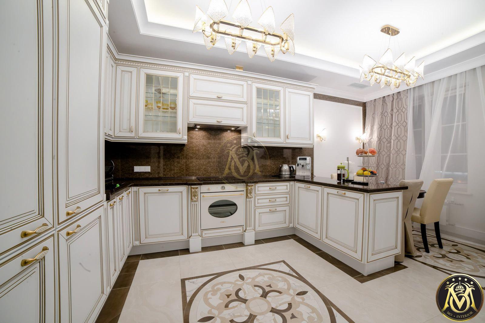 tủ bếp tân cổ điển màu trắng