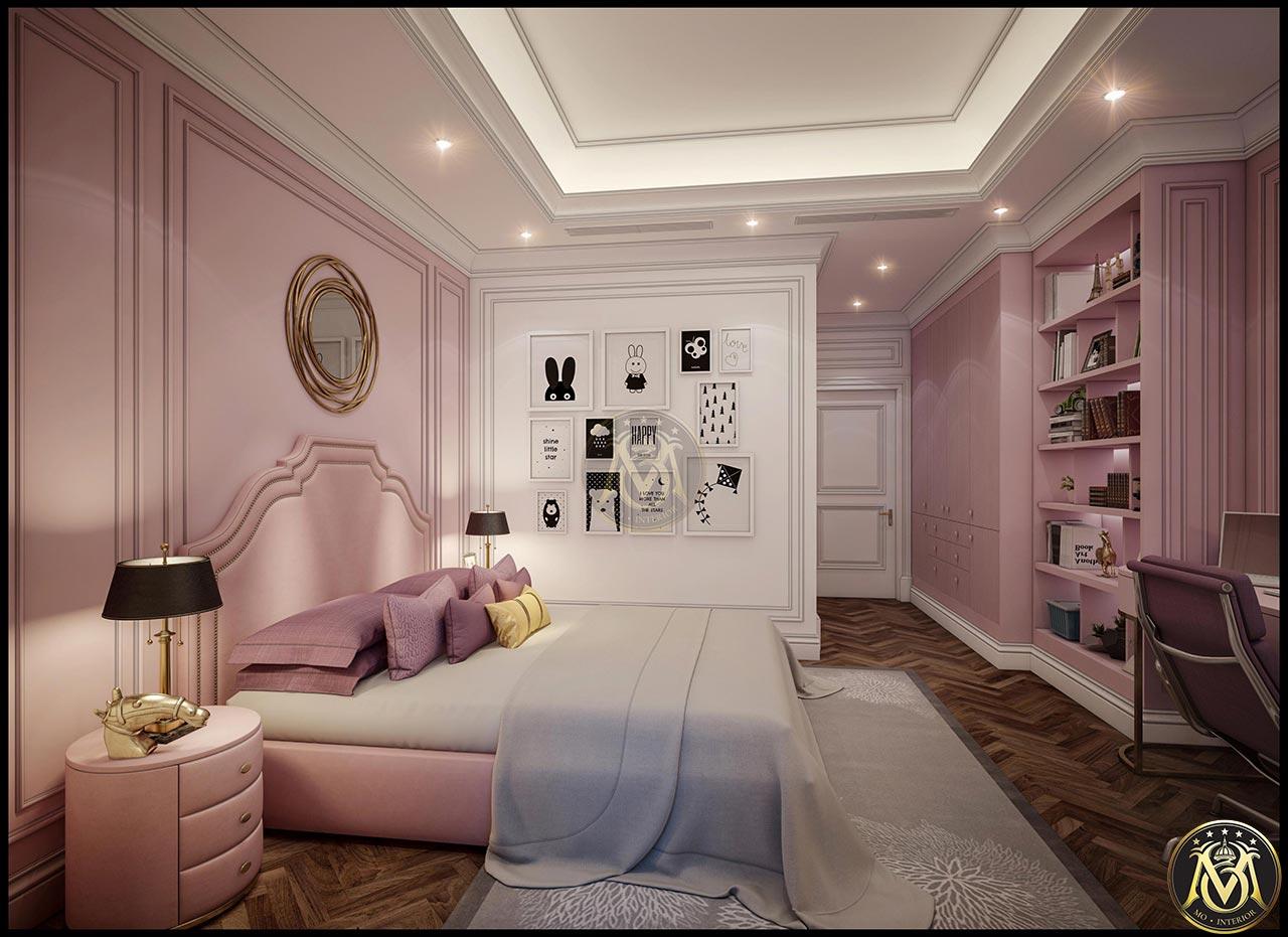 Nội thất phòng ngủ phong cách tân cổ điển cho bé gái