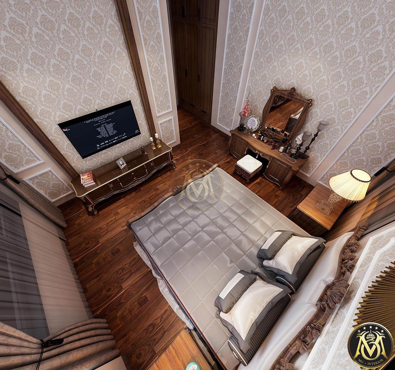 Mẫu phòng ngủ tân cổ điển đẹp cho nhà ống